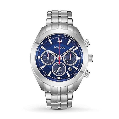 Bulova Mens 96B285 Quartz Chronograph Blue Dial Silver Tone 44mm Watch (Renewed)