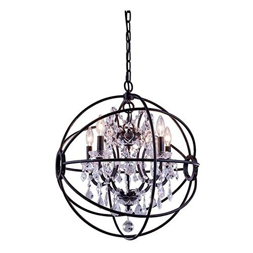 (Elegant Lighting Geneva Collection 5-Light Pendant Lamp with Royal Cut Crystals, Dark Bronze Finish)