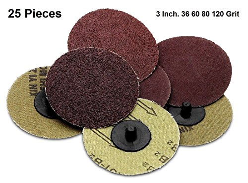 Roloc sanding Disc Assortment 25 Piece Set of Heavy Duty and Durable 3 inches 36, 60, 80, 120 and 220 Grit Sander - Automotive, Tools & Equipment, Body Repair Tool - By Katzco