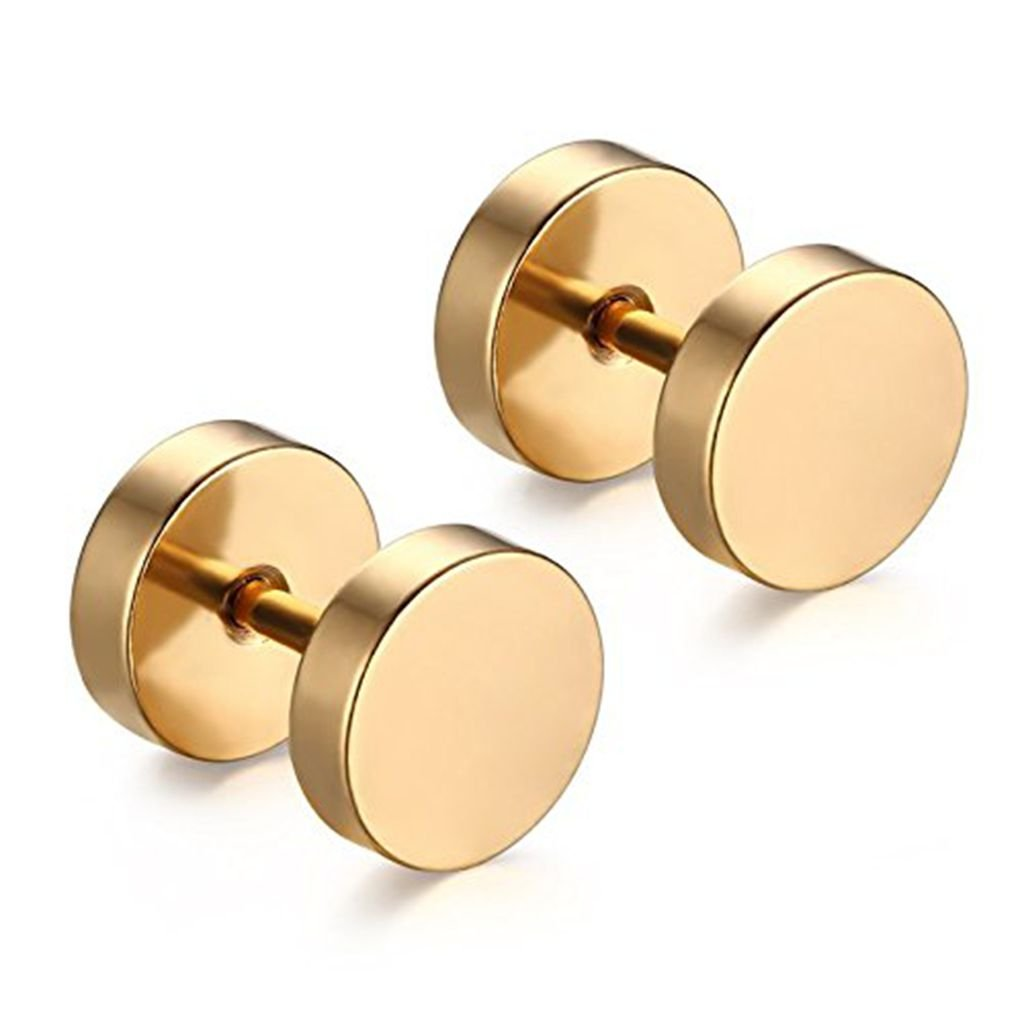 Stainless Steel Mens Womens Stud Earrings Set Ear Piercing Plugs Tunnel Punk Style