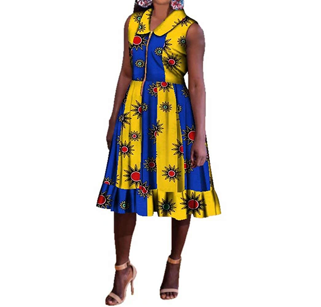 24fs1047 BintaRealWax Womens Casual Sleevelss African Shirt Dress Knee Length Ankara Aline Dress