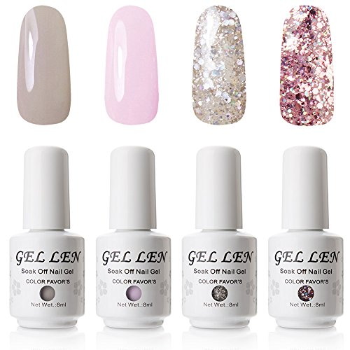 Gellen UV LED Gel Nail Polish Set - Pack of 4 Colors, 8ml
