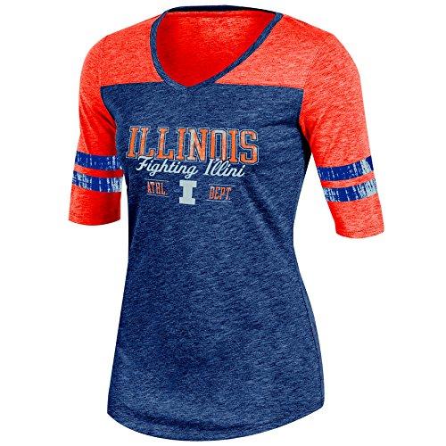 Champion (CHAFK) NCAA Illinois Illini Adult Women Half Sleeve V Neck Tunic, Large, Navy ()