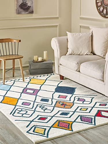 Golden Rugs Moroccan Area Rug 5x7 Trellis Multi Color Modern Tribal Lattice Kilm Cream Hand Touch Abstract Traditional Texture for Bedroom Living/Dining Room 7475 Melody Collection (5x7, Cream)