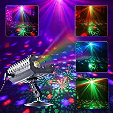 CHINLY Party Lights RGB 3 Lens DJ Disco Stage Laser Light Sound Activated Led Projector for Christmas Halloween Decorations Gift Birthday Wedding Karaoke KTV Bar (Background Version)