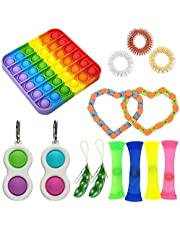 14pcs Sensory Fidget Toys,Simple Dimple with Keychain,Silicone Flip Sensory Dimple Toy,Keychain Featuring Easily Attaches to Keys and Rainbow Push Pop Bubble Fidget Sensory Toy