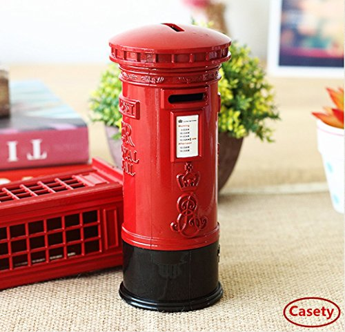 Coin Bank, Casety Metal Britain London Street Red Mailbox Piggy Bank Postbox Money Box for Decoration or Gift - 6.3