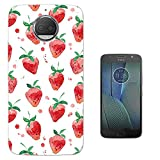 "001773 - Strawberries Mini Collage Wimbledon Tennis English Summer Design Motorola Moto G5S 5.2"" CASE Gel Silicone All Edges Protection Case Cover"
