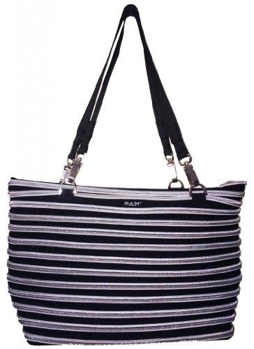 BAM Bags Women's Flat Bottom Tote Nylon Black & Silver One Size - Bam Bags Handbag