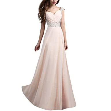 2d7edc42294 Women s Elegant V-Neck Long Dress Sleeveless A Line Empire Waist Lace Prom  Ball Gown