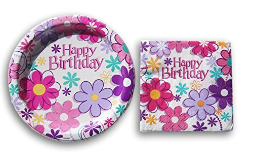 upply Kit - Beverage Napkins and Dessert Plates (Flower Power Decorations)