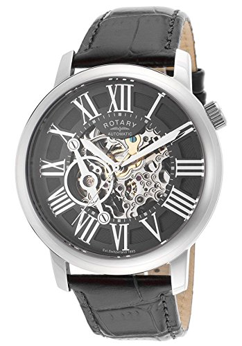 Rotary Men's Automatic Watch with Skeleton Dial and Black Leather Strap