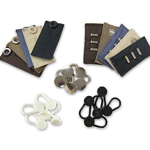 25-pack Waistband Extender Set - 5 x White Button, 5 x Black Button, 5 x Spring Metal Button, 5 x Cotton Hook, 5 x Cotton Button Extenders