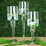 Tableclothsfactory Set of 3 Clear Long Stem Glass Cylinder Flower Vase Tabletop Candle Holders