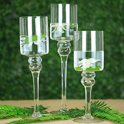 (Tableclothsfactory Set of 3 Clear Long Stem Glass Cylinder Flower Vase Tabletop Candle Holders)