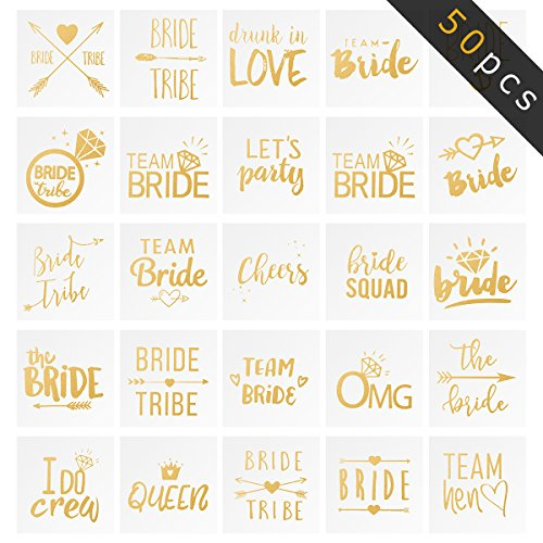 Biubee 50 Sheets Bride Tribe Flash Tattoos- Lasting Bachelorette Party Tattoos for Team Bride, Bridemaid, Future Mrs and Wedding Party -