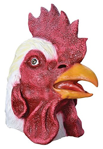 Bristol Novelty White/Red Rooster. Rubber Masks - Men's - One Size