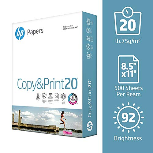 HP Printer Paper, Copy and Print20, 8.5 x 11 Paper, Letter Size, 20lb Paper, 92 Bright, 5,000 Sheets / 10 Ream Carton (200060C) Acid Free Paper by HEWLETT PACKARD (Image #1)