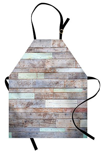 Rustic Apron by Lunarable, Retro Style Old Fashioned Cabin Lumber Wall Boarding Building Panel Structure, Unisex Kitchen Bib Apron with Adjustable Neck for Cooking Baking Gardening, Brown Pale (Boarding School Costumes Tie)