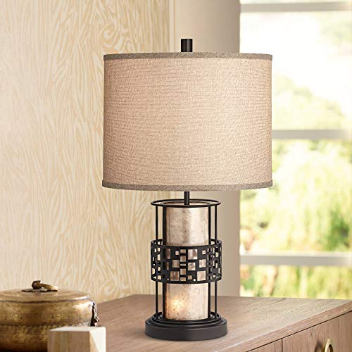 (Cooper Modern Rustic Farmhouse Table Lamp with Nightlight LED Metal and Mica Mineral Fabric Drum Shade for Living Room Bedroom Bedside Nightstand Office - Franklin Iron Works)
