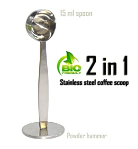 2 IN 1 Stainless Steel Coffee Measuring Scoop for Coffee (15 ml), Coffee & Tea Tools Measuring Tamping Scoop Coffee Tamper Silver