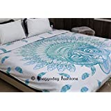Bhagyoday Fashions - Mandala Boho Comforter Duvet Cover Queen Size Indian African Tiger Quilt Cotton Bedding Bedspread Doona Cover Set