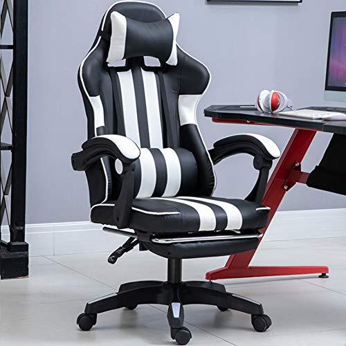 Ficmax Silla ergonomica para juegos Silla para computadora con masaje de soporte lumbar, sillas de juego para E-sports para jugador, silla de oficina con reposapies y para reposacabezas (negro),Blanco