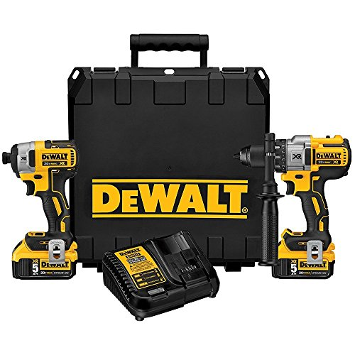 Dewalt 20V MAX XR Lithium-Ion 1/2 in. Hammer Drill & 1/4 in. Impact Driver Combo Kit