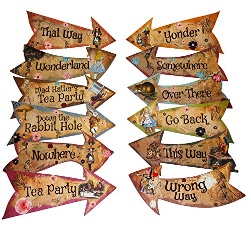 Alice in Wonderland Party Vintage Style Arrow Signs / Mad Hatters Tea Party Props Pack of 12 Signs (Alice Pinata)