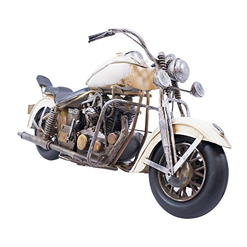 Motocicleta Branco 39cm Estilo Retrô - Vintage