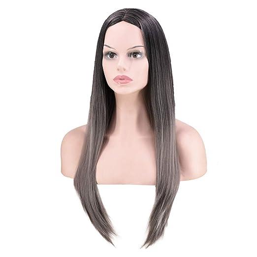 Amazon.com: Ktyssp - Peluca de pelo sintético, lisa, larga y ...