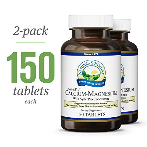 Nature's Sunshine Calcium-Magnesium, SynerPro, 150 Tablets, 2 Pack   Calcium Multivitamin Provides Vital Nutrients for Bones, Muscles, Ligaments, Tendons, and Skin