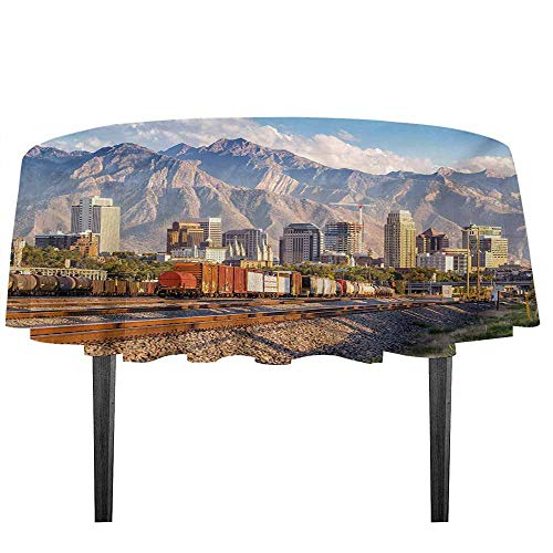kangkaishi Landscape Waterproof Anti-Wrinkle no Pollution Downtown Salt Lake City Skyline in Utah USA Railroads Mountains Buildings Urban Table Cloth D59.05 Inch -
