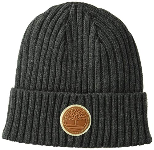 (Timberland Men's Rib Shallow Beanie, Charcoal Heather Grey, One Size)