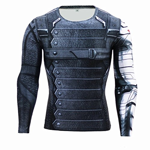Cosfunmax Winter Soldier Shirt Super Hero Compression Sports Shirt Men's Long Sleeve Fitness Tee Gym T-Shirt S for $<!--$18.99-->