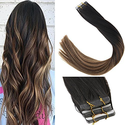 (Sunny 20inch Tape ins Hair Extensions Human Hair Natural Black Ombre Brown Highlighted Caramel Blonde Tape In Hair Extensions Balayage 20pc 50g/pack)