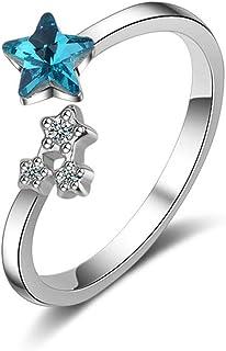 QIANDI color argento scintillante Starshine Star Open finger anelli per donne matrimonio regalo di compleanno