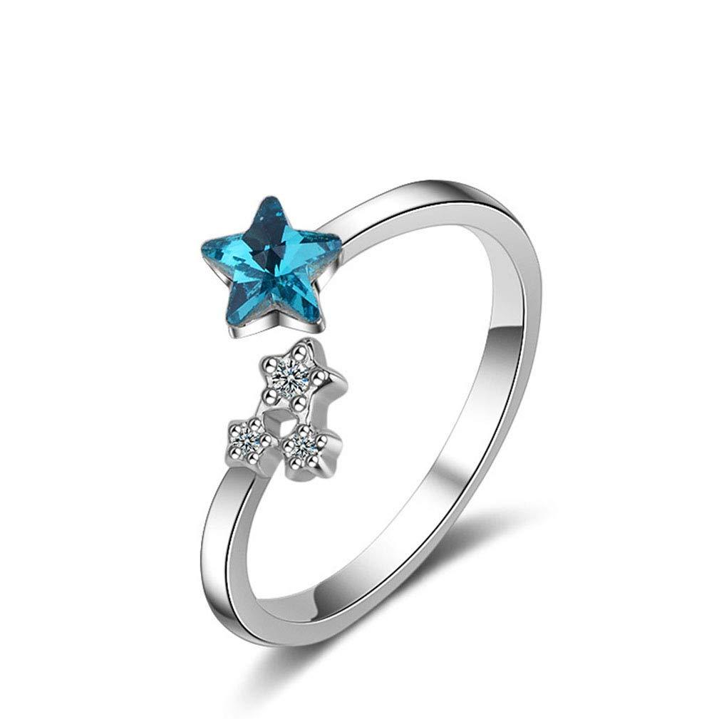 QIANDI Couleur argent Sparkling Starshine étoile ouvert doigt Bagues pour femme Mariage Cadeau d'anniversaire