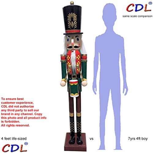 CDL 48''4ft tall life-size large/giant Christmas wooden nutcracker soldier Drummer ornament on stand play drum for indoor outdoor Xmas/event/ceremonies/commercial decoration K37 by ECOM-CDL (Image #3)