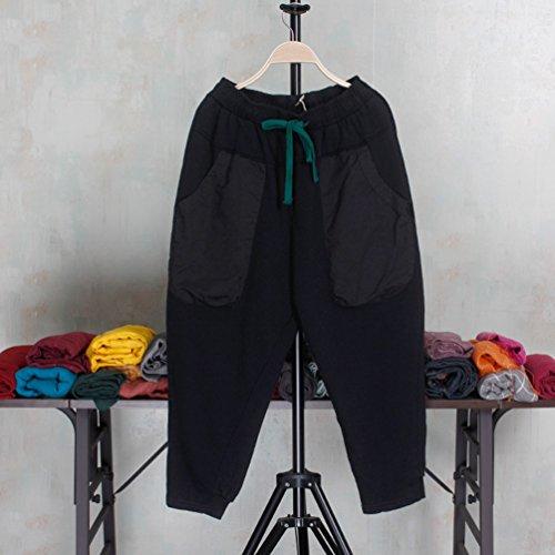 Donna Gamba Pants WanYang Nero Neri Harem Larga Pantaloni Pantaloni Donne Moda Di Elegante Elasticità Casuale qqRI4w0