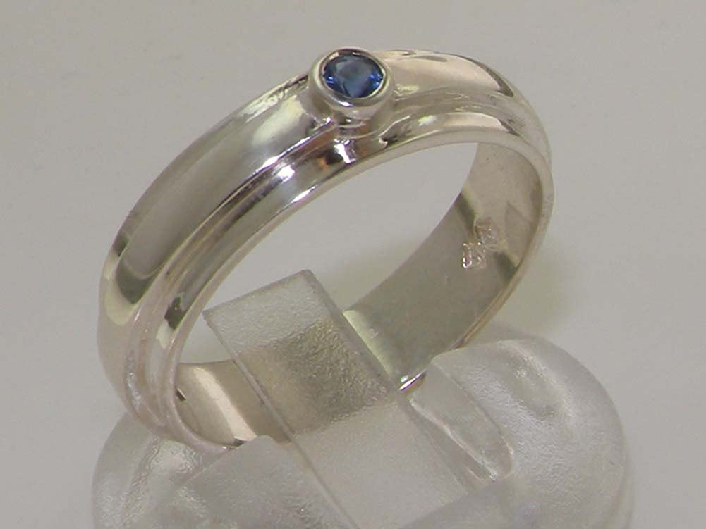 925 Sterling Silver Real Genuine Sapphire Womens Wedding Band Ring