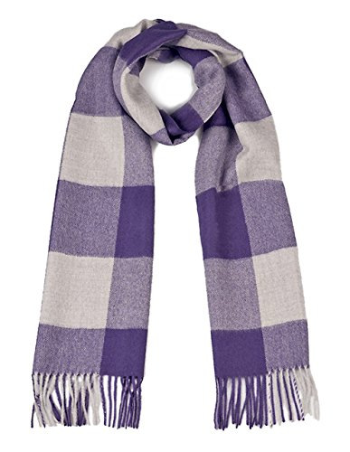 100% Pure Baby Alpaca Buffalo Plaid Scarf for Men and Women (Purple / Silver) (Pure Baby Alpaca)
