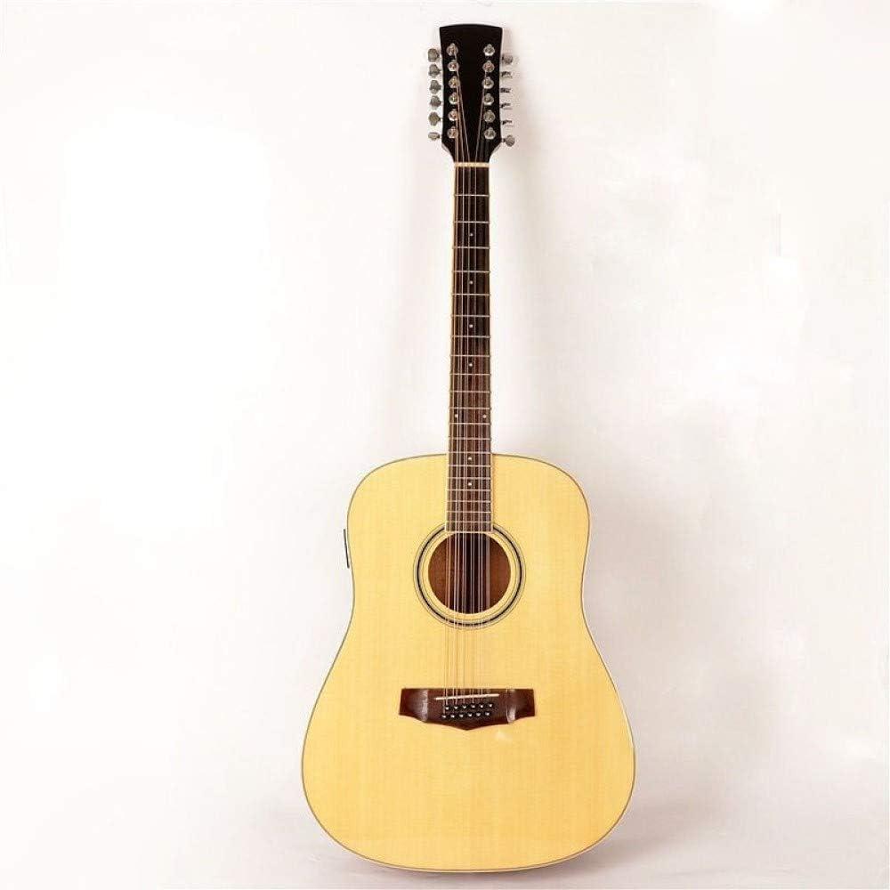 LOIKHGV Guitarras- Guitarra eléctrica acústica Spruce Top 12 Cuerdas, 41 Pulgadas