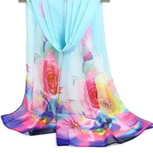 Beautiful, Elegant and Soft 3D Rose Flowers Chiffon Scarfs/Shawls-Various Colors 98