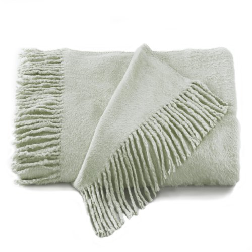 Empress Silk Plush Fringed Throw - Celadon