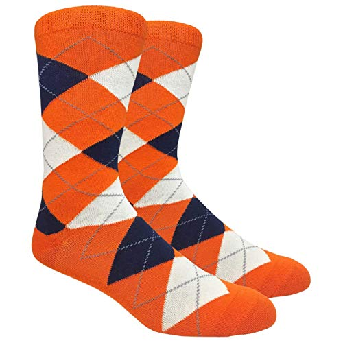 Men's FineFit Arygle Dress Trouser Socks Assorted Colors - You Choose! (Orange) (Mens Orange Dress Socks)