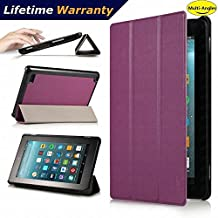 DHZ Folio Case for Amazon Fire HD 8 Tablet(2017 and 2016 Release,7th/ 6th Generation) - Ultra Lightweight Smart Cover Slim Tri-fold Stand Leather Case with Auto Wake / Sleep,Violet