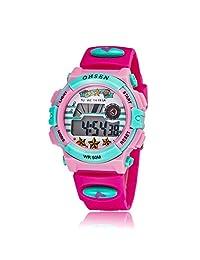 Kids Outdoor Sports Watch Children Waterproof Digital Alarm Dress Wristwatch for Girls(Rose Red)