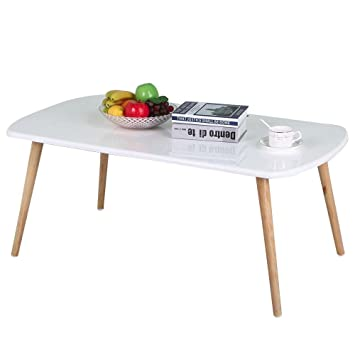 Topeakmart Modern White Gloss Rectangular Coffee Table Natural Pine Wood  Legs Living Room Side End Tables