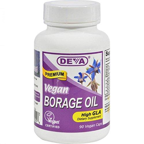 DEVA Vegan Vitamins Vegan Borage Oil 500 mg Vcaps, 90-Count Bottle by Deva Vegan Vitamins Deva Vegan Borage Oil